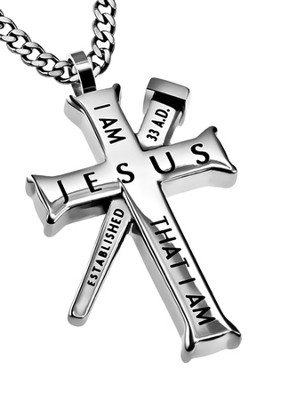 I Am Established Cross Necklace, Silver  -