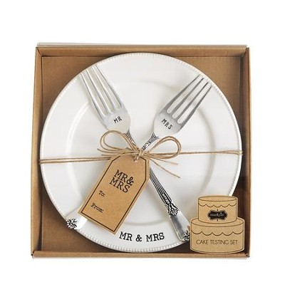 Mr. and Mrs. Plate and Fork Set, 3 Pieces  -