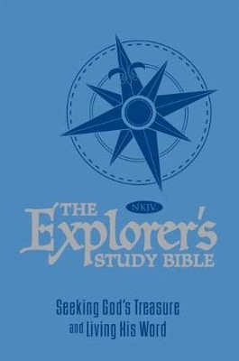 NKJV Explorer's Study Bible--soft leather-look blue  -