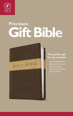 NLT Premium Gift Bible-Soft leather-look, Dark Brown/Tan - Slightly Imperfect  -