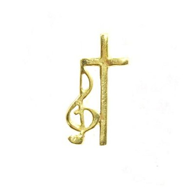 G Clef & Cross Lapel Pin   -