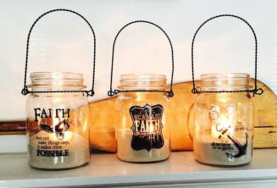 Anchor, Eagle, Faith Lanterns, Set of 3  -