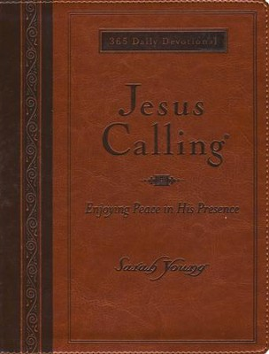 Jesus Calling, Large Print, Deluxe Edition - Imitation Leather,  Amber  -     By: Sarah Young