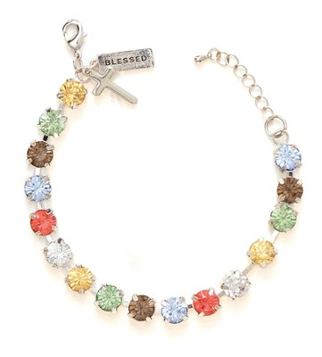Rhinestone Bracelet with Charm, Multi  -