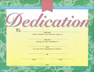 Dedication Certificate, Marble-Look, 6-Pack   -