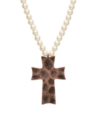 Copper Cross Pearl Necklace  -