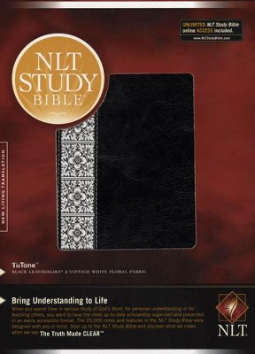 NLT Study Bible, TuTone Black & Vintage White Floral Fabric - Slightly Imperfect  -