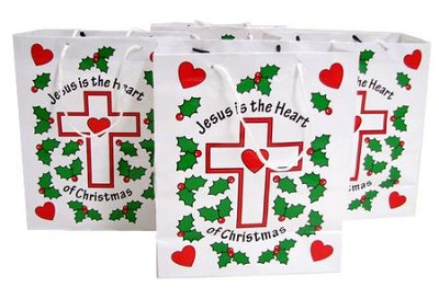 Jesus is the Heart of Christmas Gift Bag, Pack of 12   -