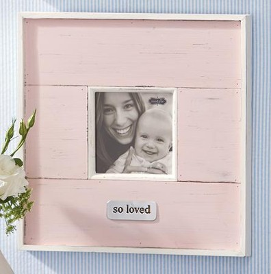 So Loved, Distressed Photo Frame, Pink  -