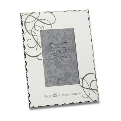 Our 25th Anniversary, Mirrored Glass Frame  -