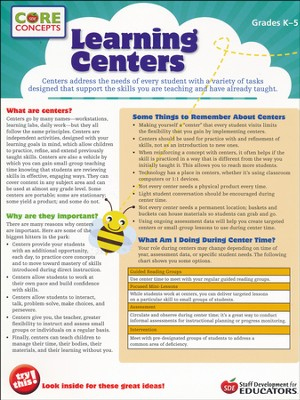 Learning Centers - Core Concepts  -