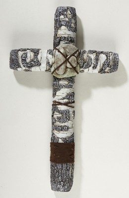 River Rock Wall Cross  -
