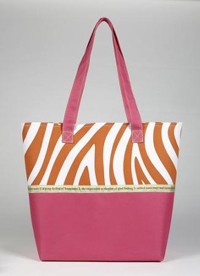 Joy Zebra Print Tote Bag, Pink and Orange  -