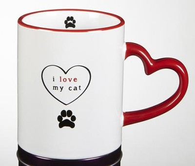 I Love My Cat Mug with Heart Handle  -