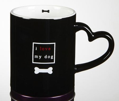 I Love My Dog Mug with Heart Handle  -