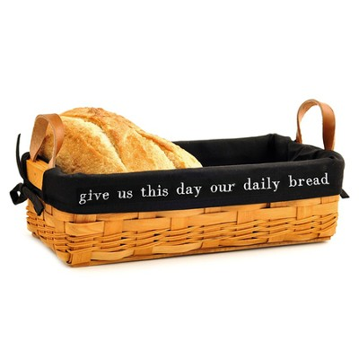 Give Us This Day Our Daily Bread Loaf Basket, Black Lining  -