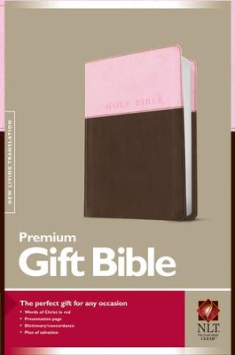 NLT Premium Gift Bible, TuTone Leatherlike Pink & Brown  -