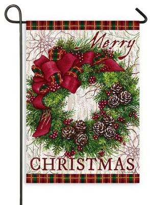 Small Christmas Wreaths.Merry Christmas Wreath Flag Small