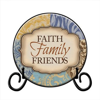 Faith, Family, Friends Plate, with Easel  -