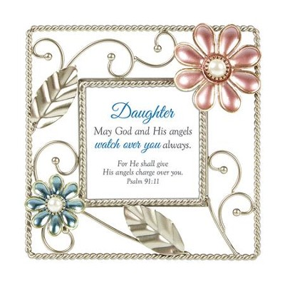 Daughter, Psalm 91:11, Framed Verse, 6X6  -     By: Lea Metts