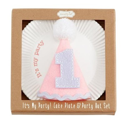 Birthday Girl Cake Plate & Party Hat Set  -