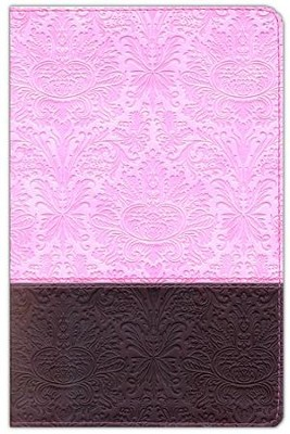 NLT Personal Size Large Print, TuTone Pink and Brown  Imitation Leather, Thumb-Indexed  -