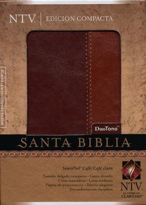 Biblia Compacta NTV, SentiPiel Café/Café Claro  (NTV Compact Bible, Imitation Leather Brown/Tan)  -
