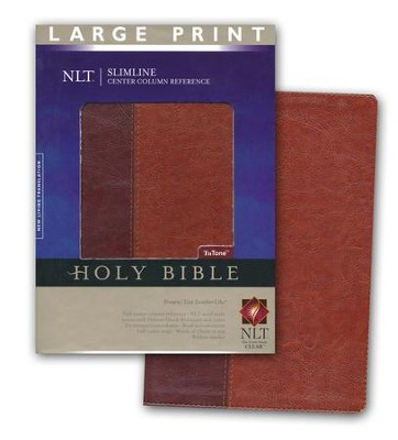 NLT Slimline Reference Bible, Large Print TuTone Leatherlike Brown/Tan  -