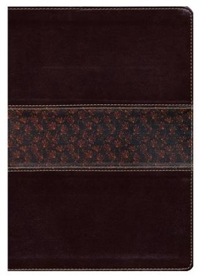 NLT Slimline Reference Bible, Large Print TuTone Leatherlike Brown/Floral - Slightly Imperfect  -