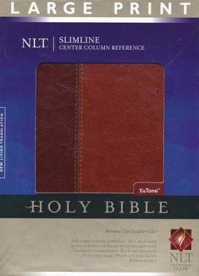 NLT Slimline Reference Bible, Large Print TuTone Leatherlike  Brown/Tan, Thumb-Indexed  -