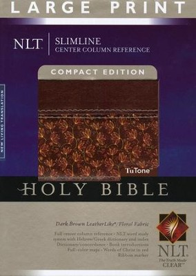 NLT Slimline Reference Bible, Large Print Compact TuTone Leatherlike Brown/Floral  -