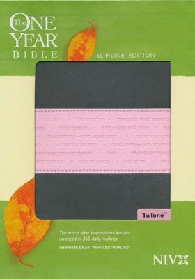 NIV One Year Bible Slimline Edition, TuTone Leatherlike Gray/Pink 1984  -