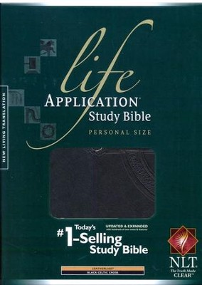 NLT Life Application Study Bible, Personal Size TuTone Leatherlike Black/Celtic Cross  -