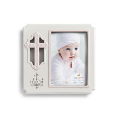 Jesus Loves Me Photo Frame, Pink  -
