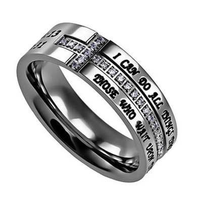 Christ My Strength, Crescent Ring, Size 8   -