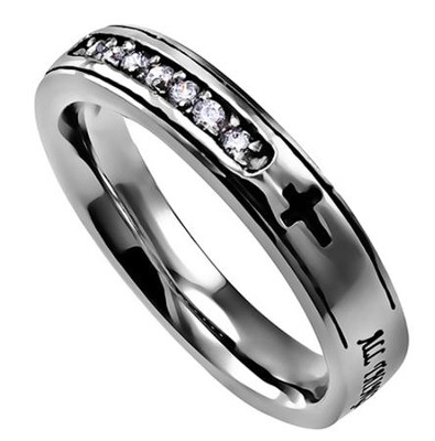 Christ My Strength Regent Women's Ring, Size 8 (Philippians 4:13)  -