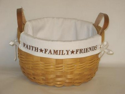 Faith, Family, Friends, Natural Round Basket, White Lining  -