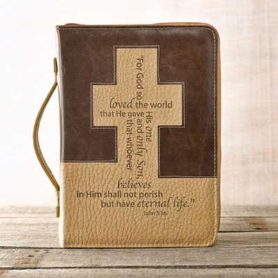 John 3:16 Cross Bible Cover, Brown and Tan, Large  -