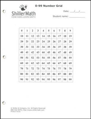 ShillerMath 24-Page 0-99 Number Grid Worksheets Pad   -
