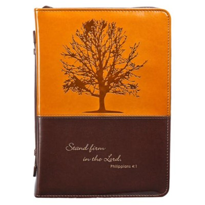 Stand Firm Bible Cover, Brown and Tan, Medium  -