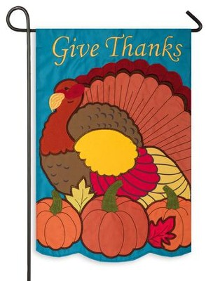 Give Thanks, Turkey & Pumpkin, Flag, Small  -