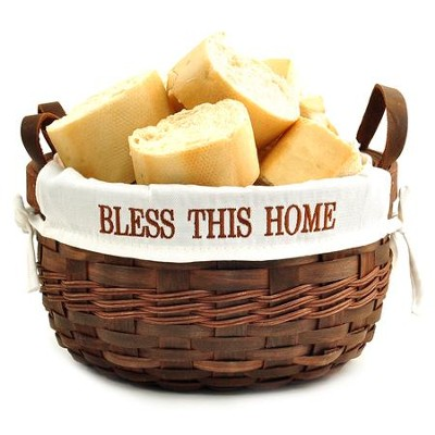 Bless This Home Bowl Basket, Dark Basket  -
