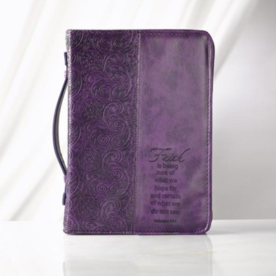 Faith is Being Sure Bible Cover, Purple, Medium  -