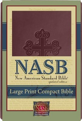 NASB Large Print Compact Leathertex Bible - Burgundy  -