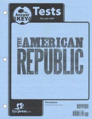 BJU Heritage Studies: The American Republic Grade 8 Tests Packet  Answer Key (Third Edition)  -