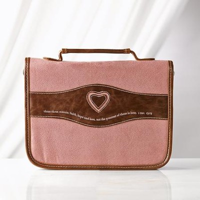 Heart Bible Cover, Suede Look, Dusty Pink and Brown, Large  -