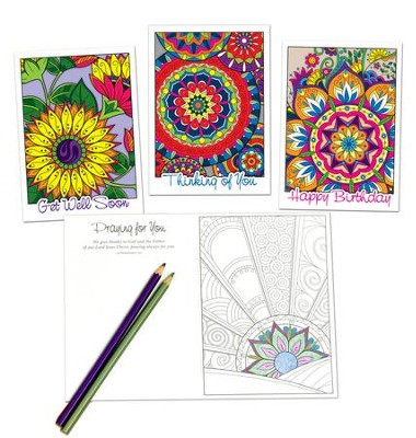 Colorful Moments Coloring Cards, Box of 12 Assorted All Occasion Cards (KJV)  -