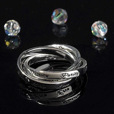 Love, Purity, Trust Triple Band Ring, Size 5  -