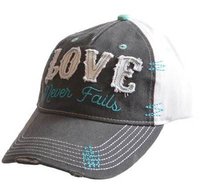 Love Never Fails Cap, Gray and White  -