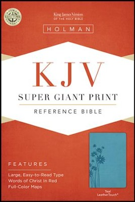 KJV Super Giant Print Reference Bible, Teal LeatherTouch  -